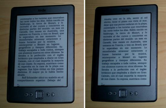 El problema de justificación ocasionado por Calibre (izquierda) y el mismo texto con justificación completa (derecha)