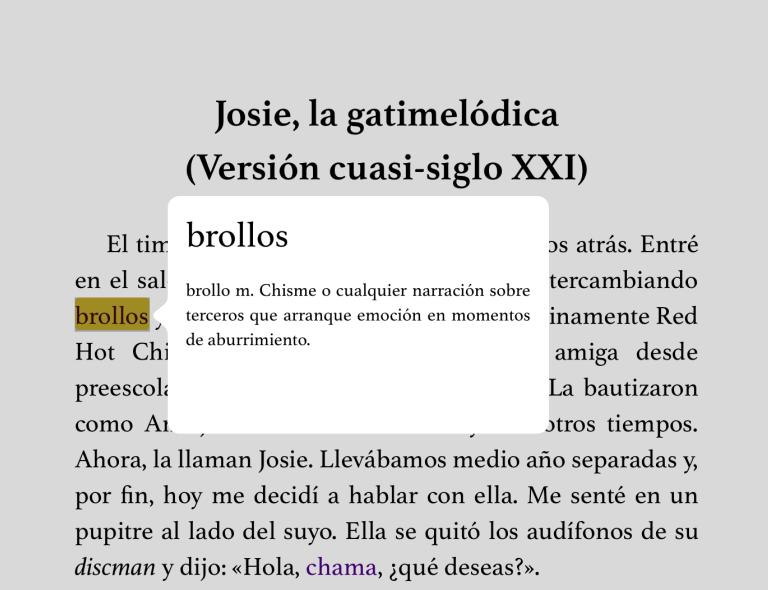 Ventanas emergentes en iBooks