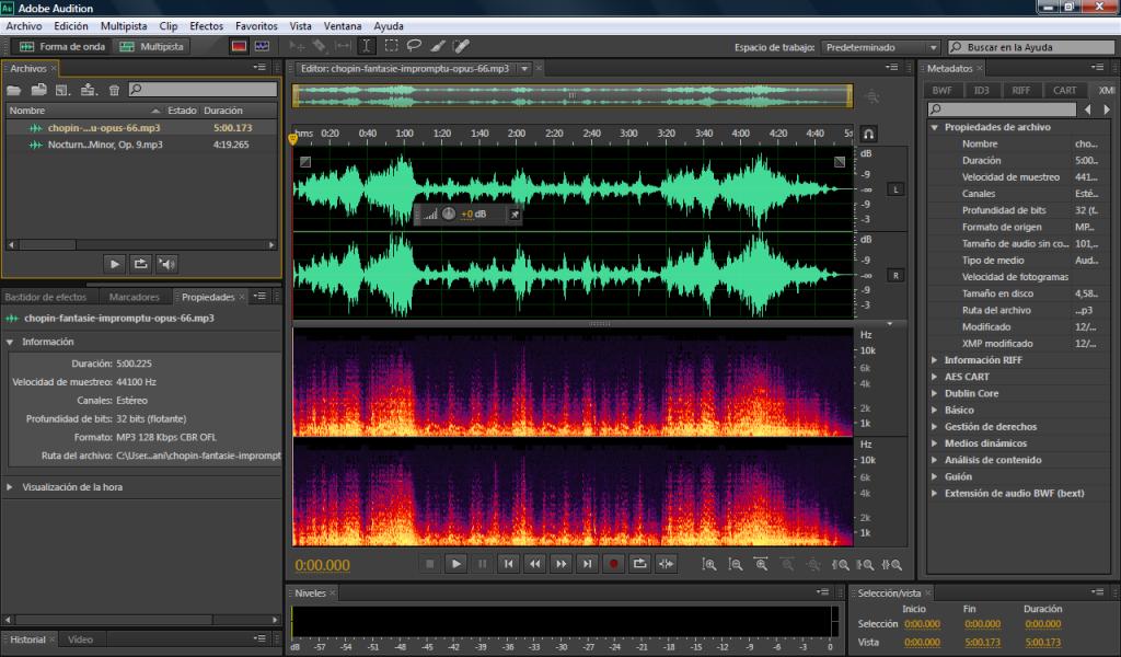 Pieza de Chopin en Adobe Audition