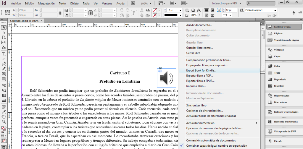 Adobe InDesign con Kindle plugin