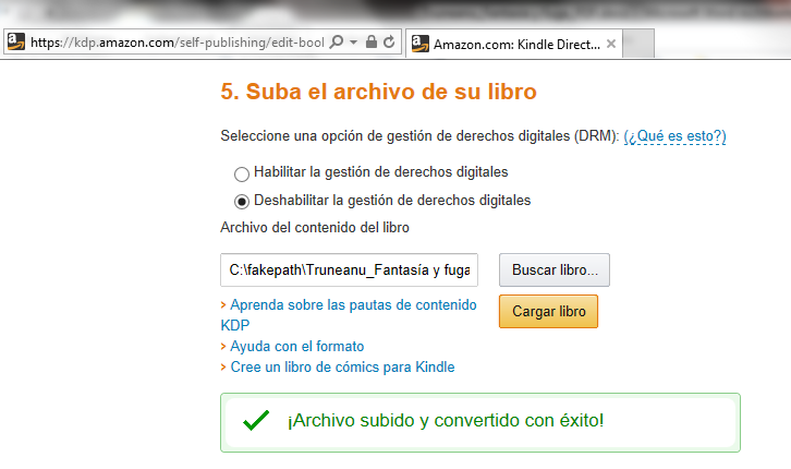 Archivo subido y convertido de DOC a MOBI en Amazon KDP
