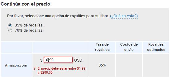 Restricciones en la opción de royalties del 35 %