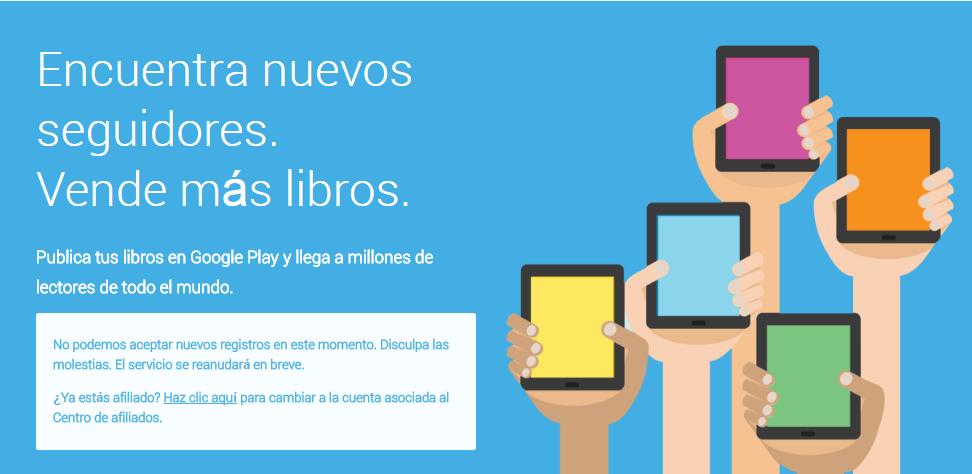Google Play Libros cerrado a nuevos registros