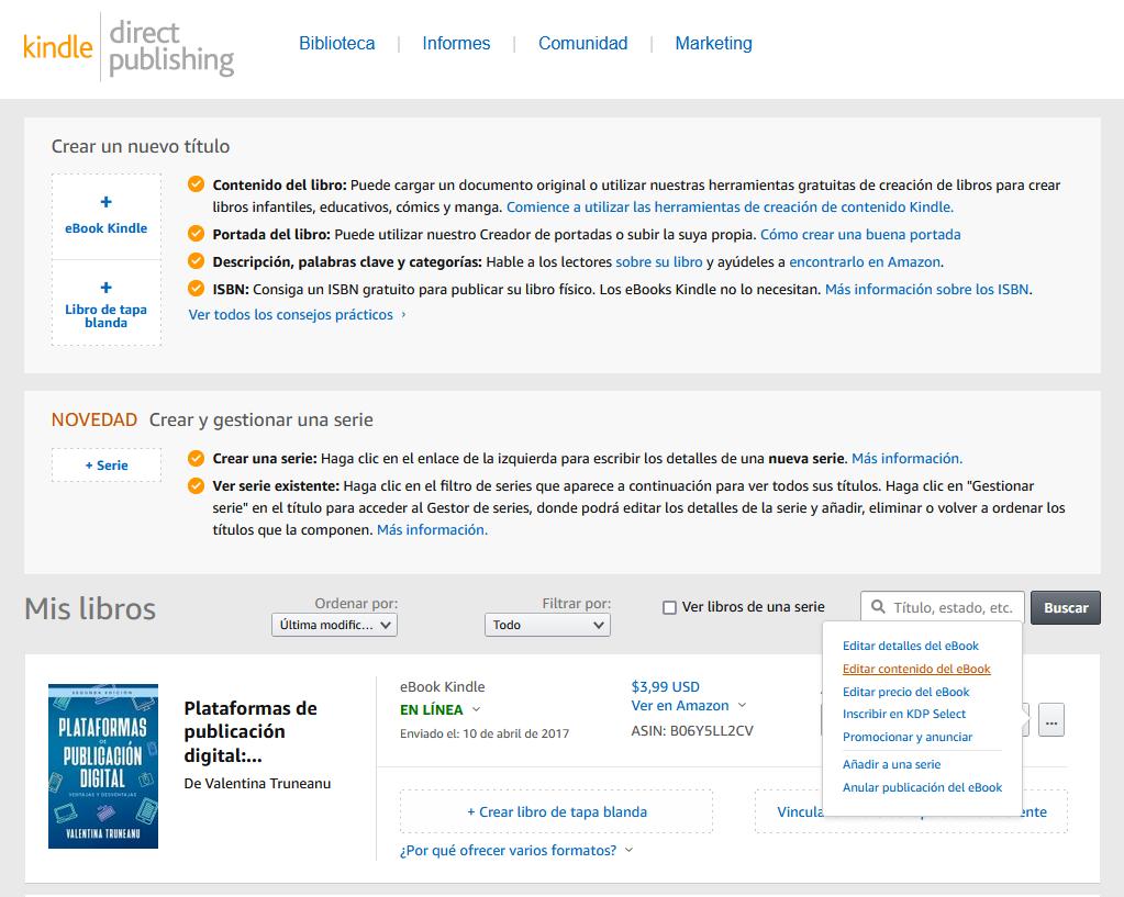 Actualizar eBook en Amazon