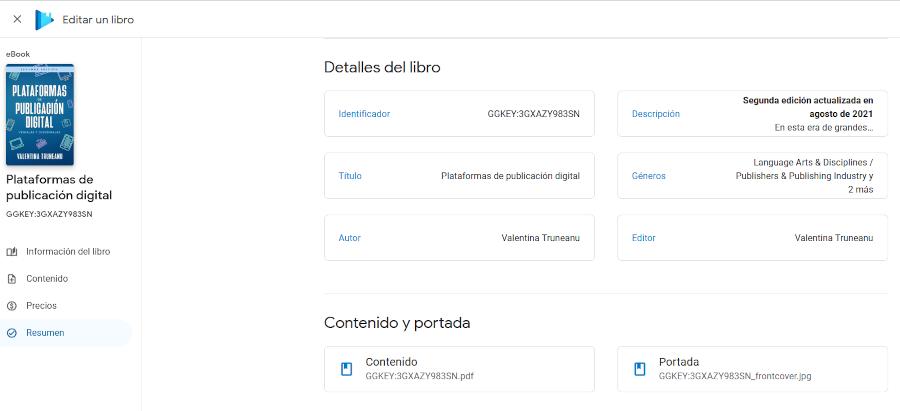 Actualizar eBook en Google Play