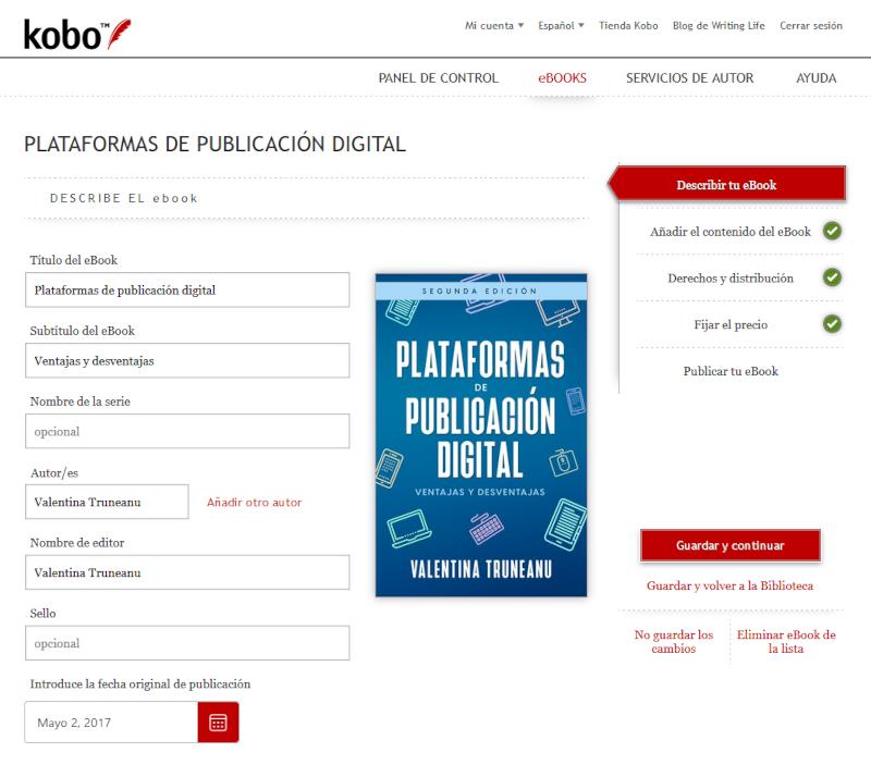 Actualizar eBook en Kobo